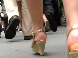Matures Asian Biz Woman In Wedges Ambling