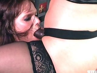 Bootyful Mistress Wearing Stockings And Belt Dick Fucks Face Of...