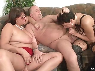 Cougar Neigbour Help Old Duo For Good Fuck-fest And Join German