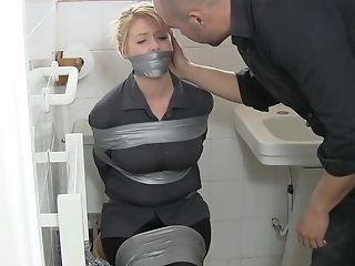 A Hot Mummy Gets Corded With Duct Gauze In The Restroom. Total Vid.