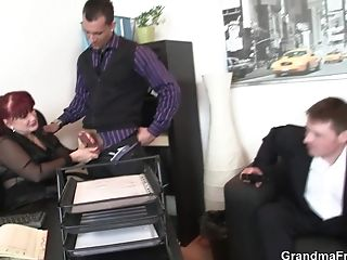 Sexy Office Matures Manager Guzzles Two Spunk-pumps At Once
