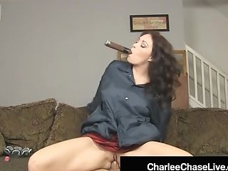 Black-haired Cougar Charlee Chase Smokes Cigar & Bangs A Big Dick!
