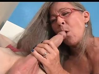 Cougar Empties Step-sons-in-law Nut Sack Sucking His Thick Trunk