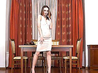 Bosomy Lengthy Legged Whore Marel Dew Fingerfucks Vag On The Table