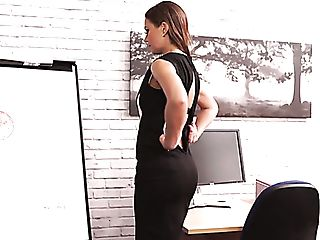 Buxom Lengthy Haired Assistant Tina Kay Desires To Go Solo At Work