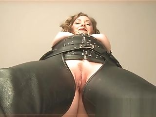 In Leather Chaps And Gloves