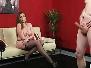 Bigtitted Euro Cougar Predominates Naked Man