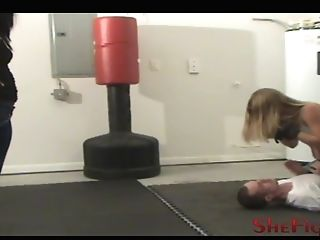Athena & Alysha Break In The Fresh Boy - Facebusting And Punches