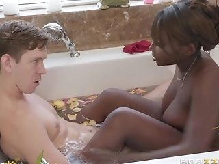 Nubian Stepmom With Succulent Melons Deep-throats Pink Fuck-stick...