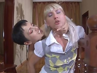 Shameless Matures Hostess Persuades Heterosexual Maid Go Lesbi