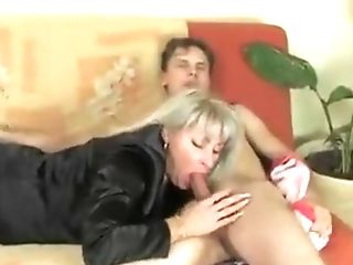 Blonde Mummy In Black Stockings Jessica Fucks Youthful Dude