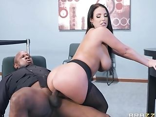 Chubby Milky Mummy Rails Gigantic Black Man Meat At Bank Office