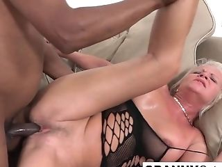 Blonde Matures Opens Her Bootie With A Plaything And A Big Black...