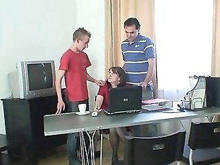 Meeting In The Office Concludes Up Threesome Fucking