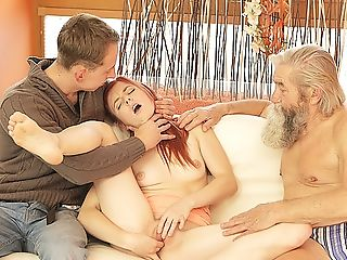 Daddy4k. Chick's Clean-shaven Beaver Is Finger-tickled By Old...