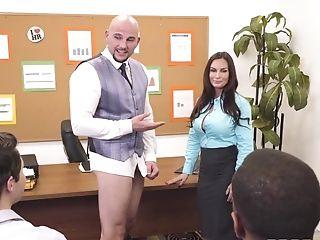 Baldhead Office Dude Fucks Enrapturing Cougar In Rear End Style