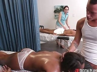 Whorish Black Cougar Gets Buggered On The Rubdown Table