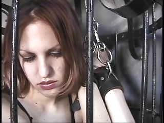 Gimp bitch let out of her box for some whipping