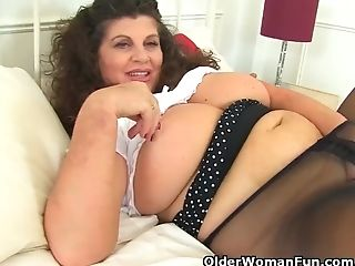 Buxom Cougar Gilly From The Uk Is Made For Fucking In Her Black...