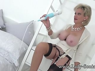 Lady Sonia Strips And Plays With Her Hitachi