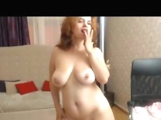 Big Titted Ginger-haired Mummy On Webcam