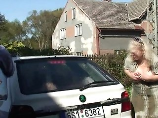 Rear End-fucking Old Blonde Mummy Inlaw Outdoor
