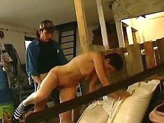 Black-haired Lady Farmer Hairy Vag Barn Fucked