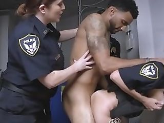 Promiscuous Cops Make Skinny D Take Turns To Pop Their Precious...