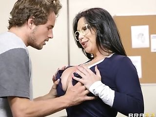 A Thick Librarian Tempts A Student With Her Gigantic Natural Breast