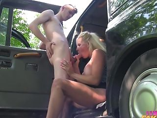 Skinny Boy Fucked Blonde Cougar Michelle Thorne By The Car