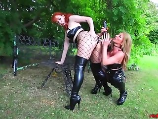 Crimson And Lynda Have Fun With Fucktoys Outside In Spandex Underwear
