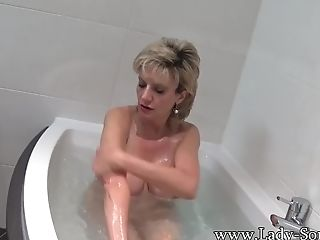 Lady Sonia Takes A Bath Then Caresses Her Honeypot
