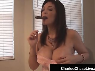 Smoking Cougar Charlee Chase Deep Throats On Cigar & A Meatpipe!