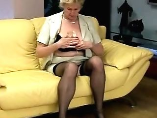 Granny Plays With Hairy Cunt And Big Saggy Tits