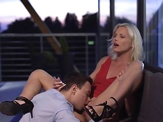 Classy Mummy In Crimson Sundress Has A Stud Slurp And Fuck Her Ripe...