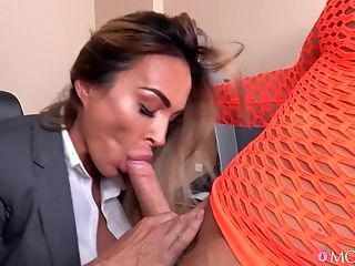 Cougar Aubrey Black With Large Faux Tits Fucked In The Office