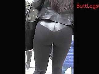 Candid Latina Woman Yoga Pants Street Creepshot