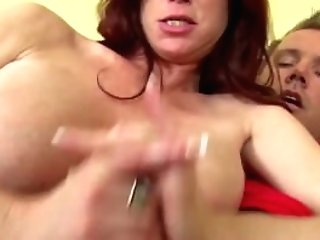 Huge-chested Ginger-haired Strokes Off A Boner