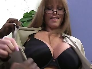 Big Tittied Cougar Darla Crane Goes Wild On Hard Black Pole