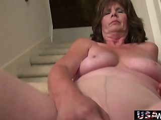 Old Baby Sitter Is Finger Fucking Her Well-worn Out Labia On The...