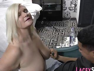 Grannie With Yam-sized Breast Sucking Masculine Stick