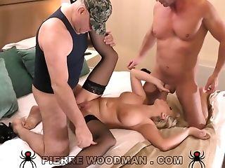Buxom Blonde Cougar Hard Gang-bang Vid