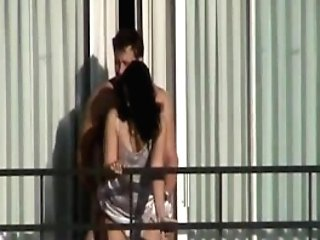 Super-cute Cougar Caught Getting Fucked On A Motel Balcony