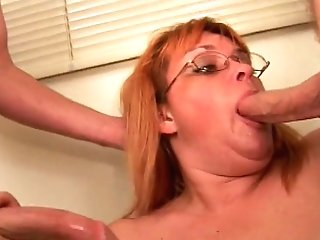 Skanky Older Broad Fellates Youthfull Dude's Spunk-pump Then...