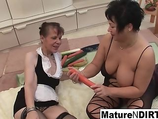 Black-haired Matures Get Each Other Off With Vegetables